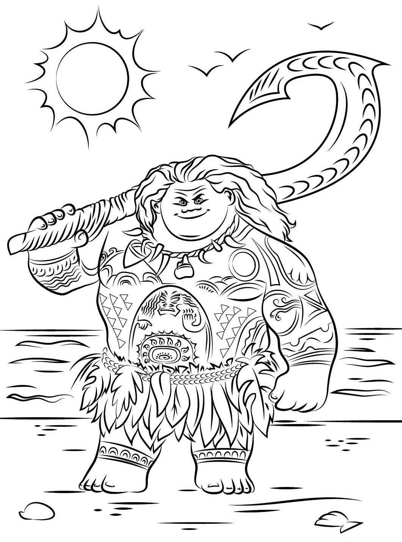 Desenho de Moana para pintar