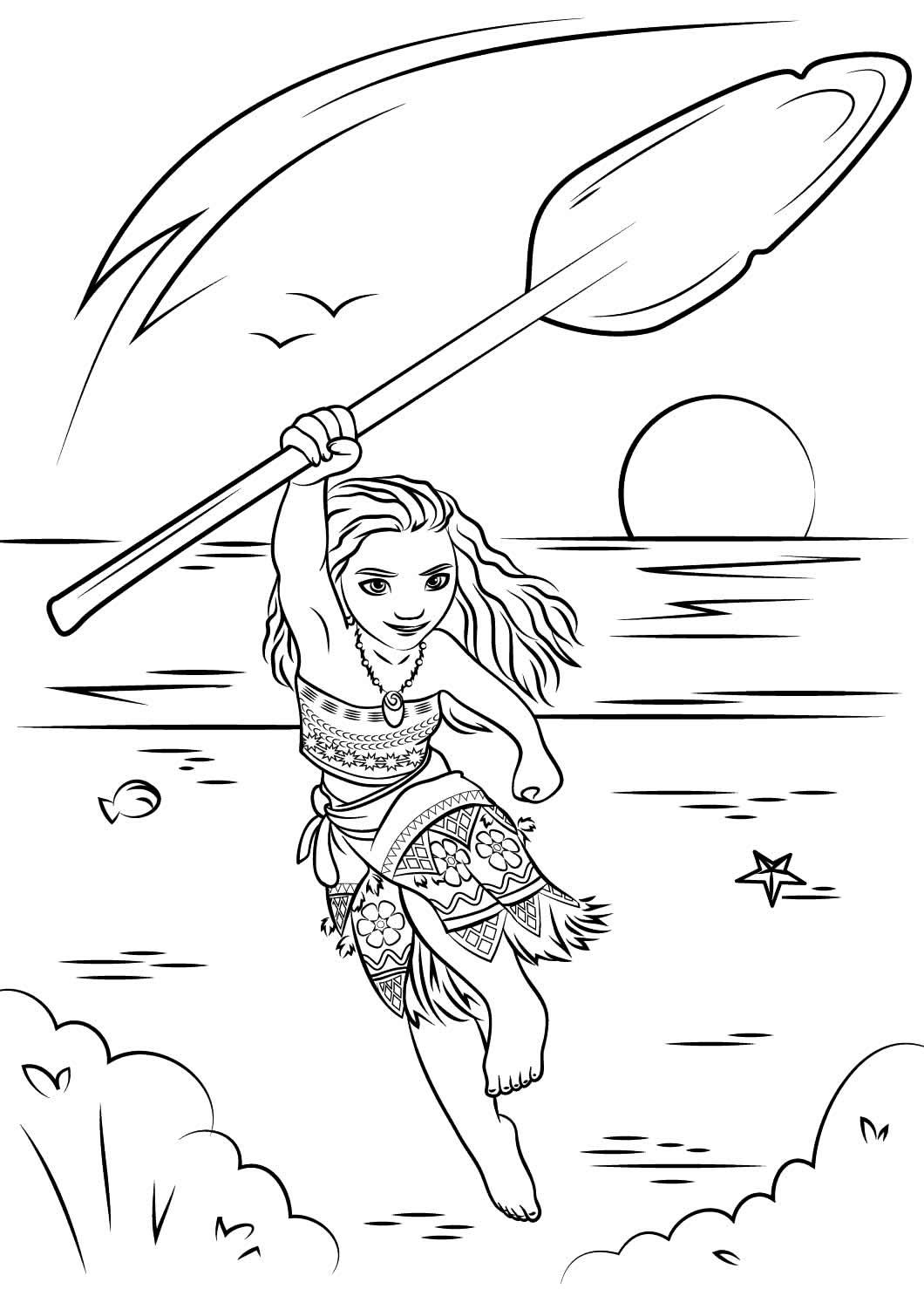 Desenho da Moana para pintar