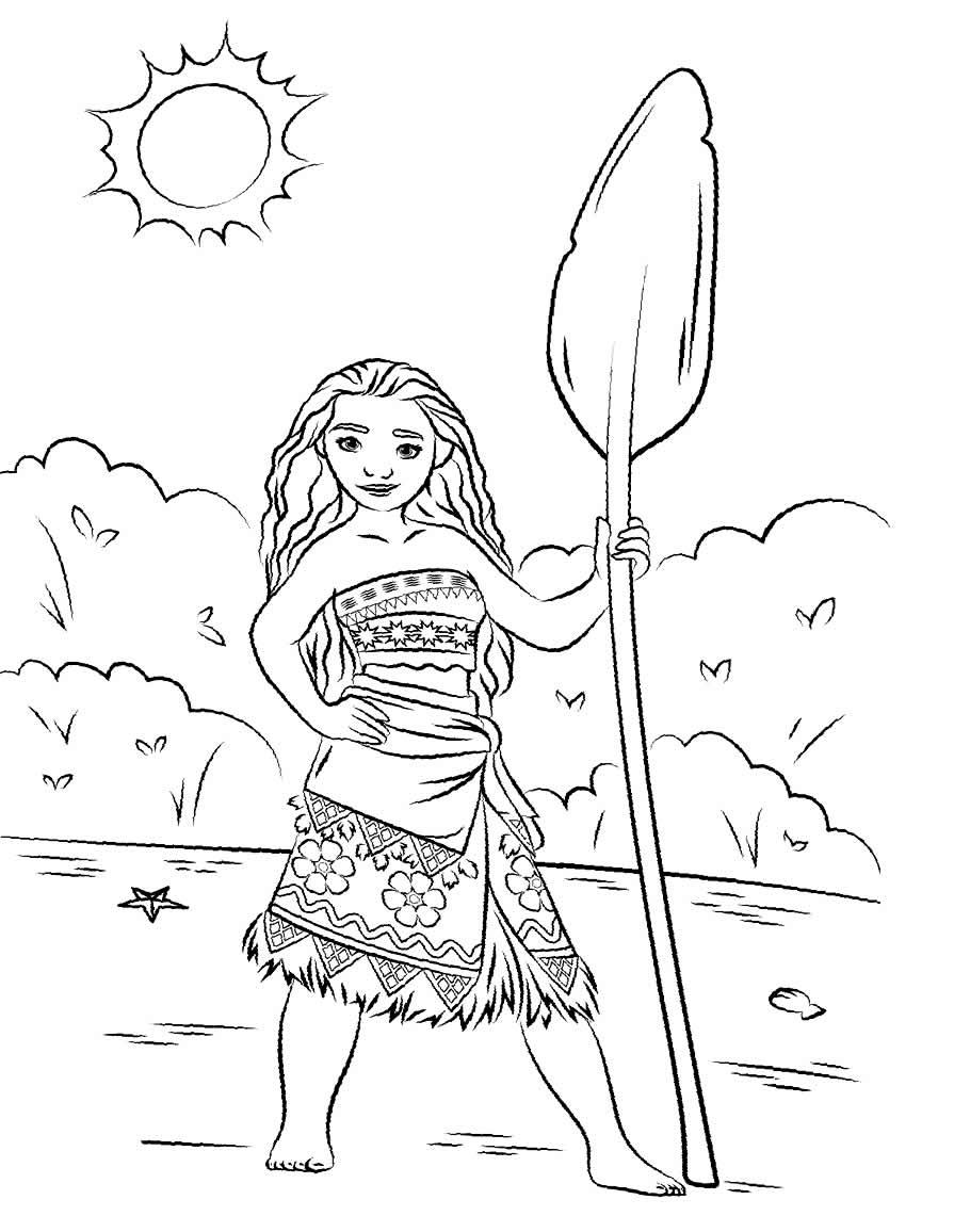 Imagem da Moana para colorir