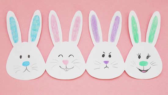 Coelhinhos de papel para Páscoa