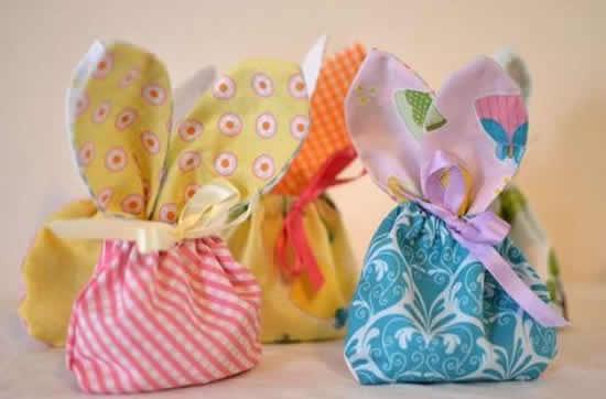 Sacolinhas de tecido para lembrancinha de Páscoa