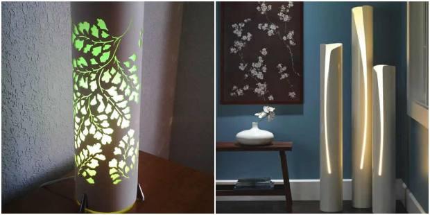 Luminárias feitas com arte em canos de PVC
