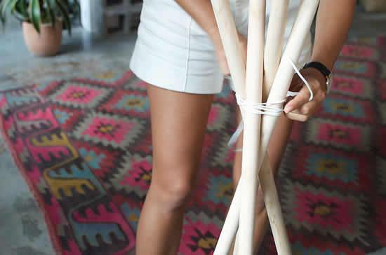 Projeto com cabos de vassoura