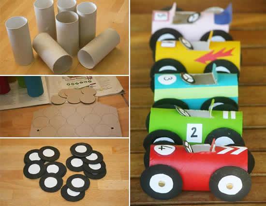 Carrinhos com rolos de papelão passo a passo