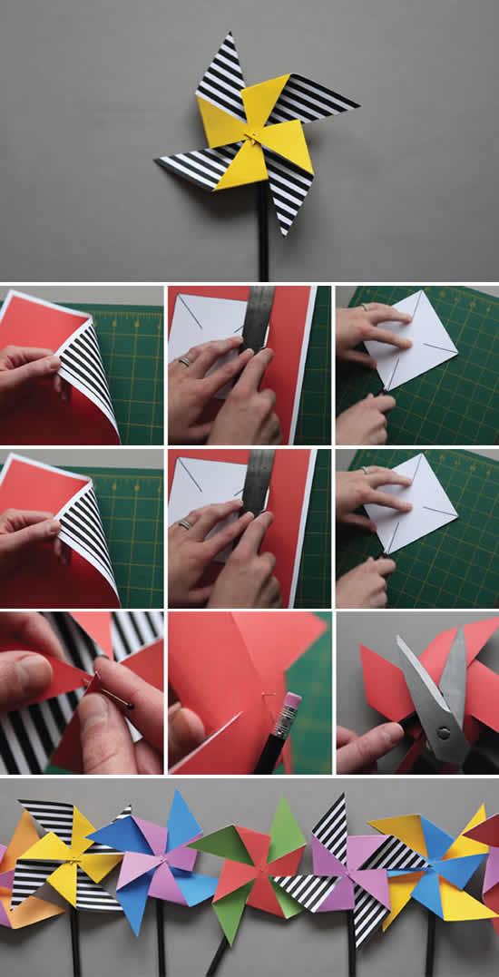 Catavento de papel passo a passo