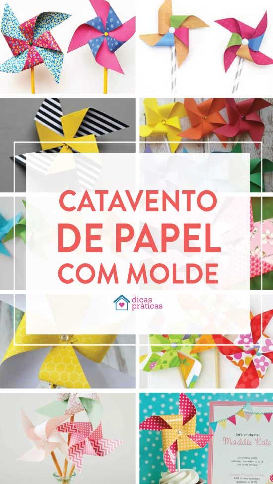 Catavento de papel com molde para imprimir