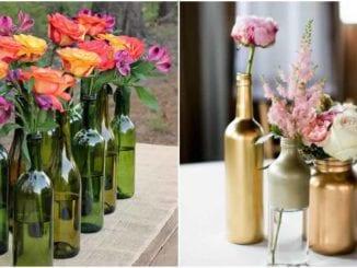 Decoração para mesa com garrafas de vidro