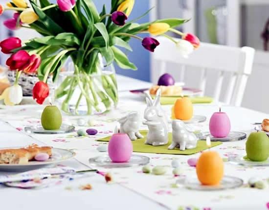 Decoração de mesa de Páscoa