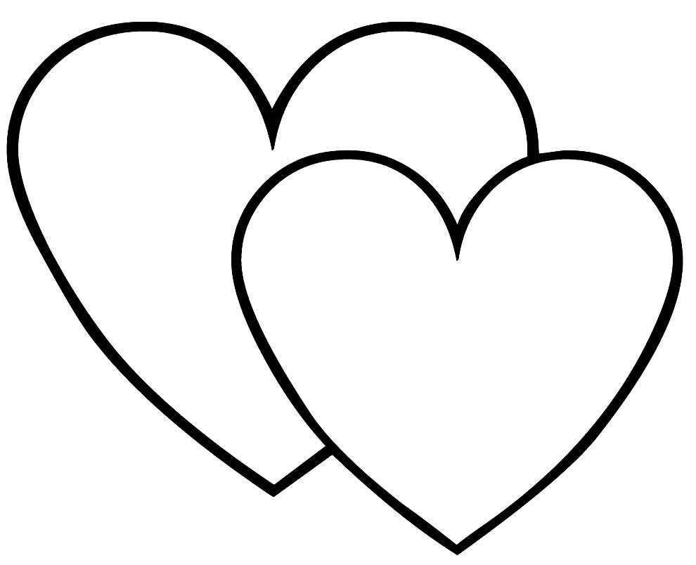 Desenho de corações para imprimir e colorir