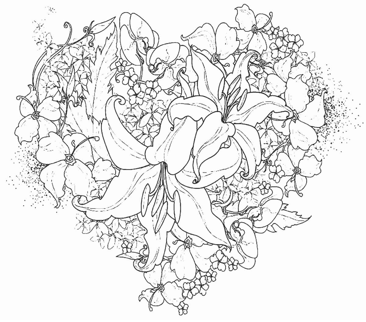 Desenho lindo de coração com folhas