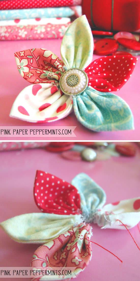 Flor com botão e tecido