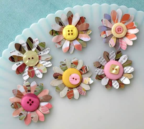 Flores de botões para atividade de arte