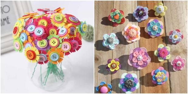 Flores feitas com botões para enfeites e atividades