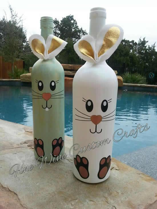 Decoração com garrafas para Páscoa