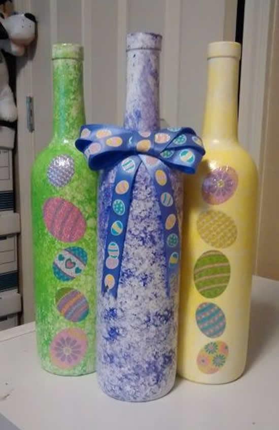 Decoração de Páscoa com garrafas