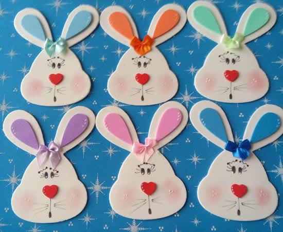 Coelhinhos de EVA com moldes para Páscoa