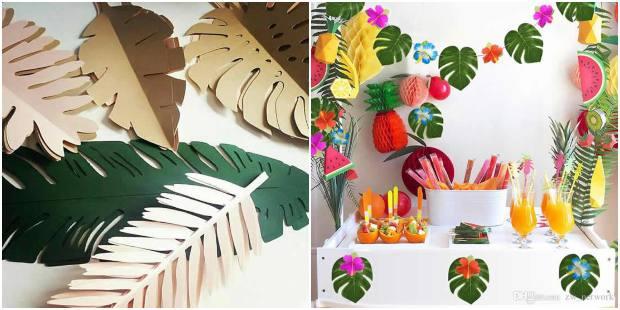 Moldes de folhas para festa tropical