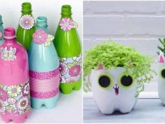 Artesanatos decorativos com garrafas PET