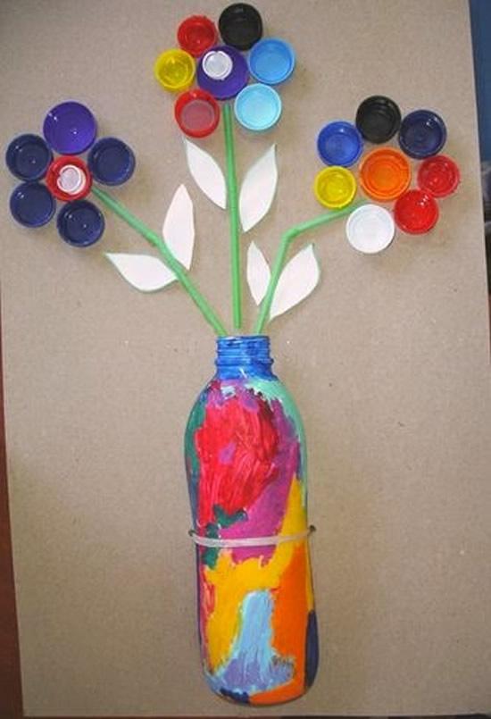 Atividade de arte com tampinhas