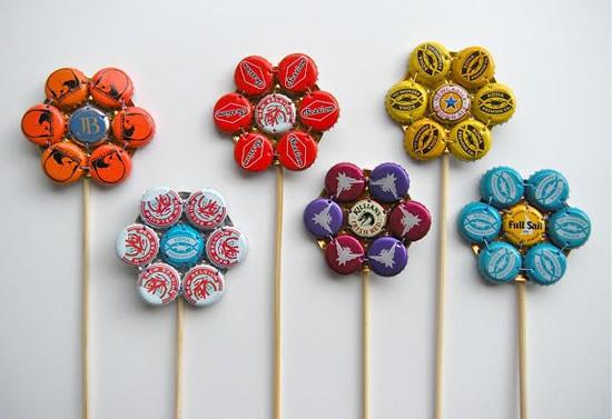 Flores com reciclagem de tampas