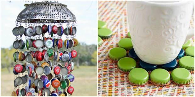 Artesanatos com tampinhas de garrafas