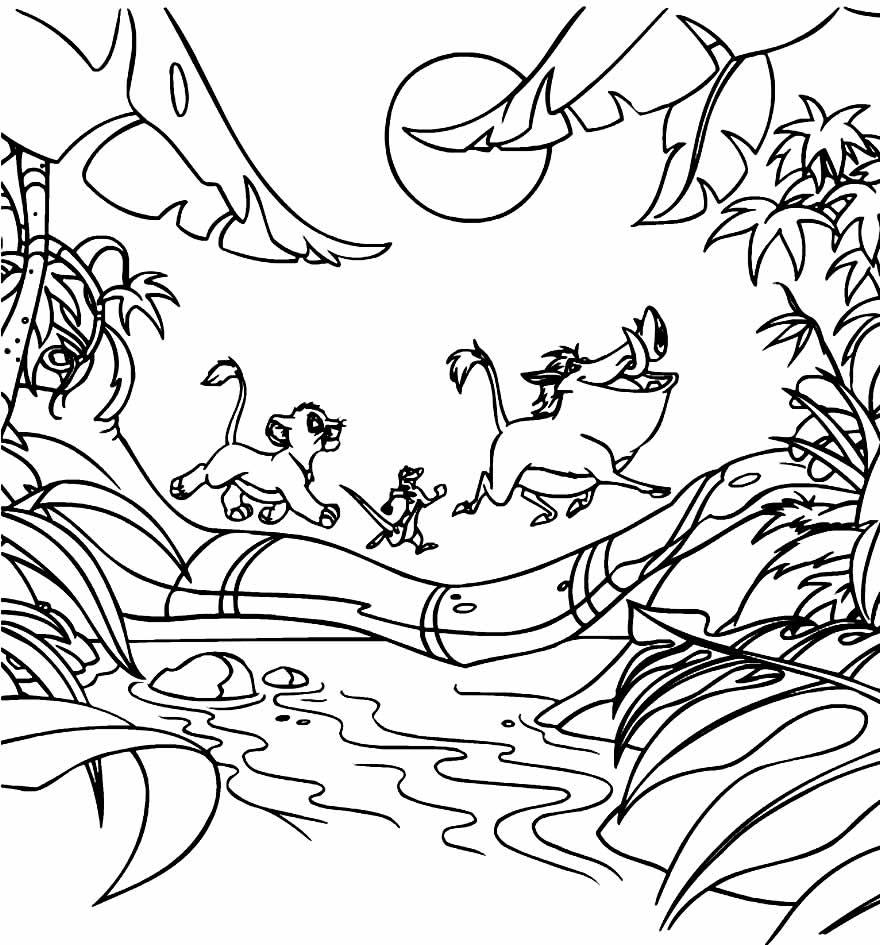 Desenho de Timão e Pumba para pintar