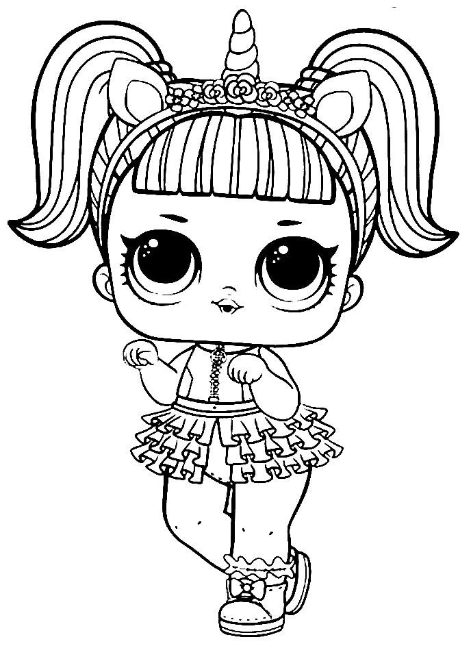 Desenho da boneca LOL para pintar