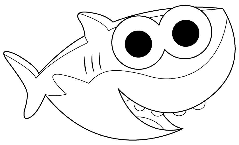 Molde de Baby Shark para colorir