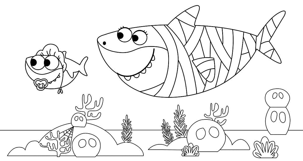 Molde de Baby Shark para pintar