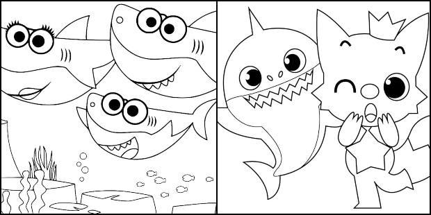 Desenhos do Baby Shark para imprimir e colorir