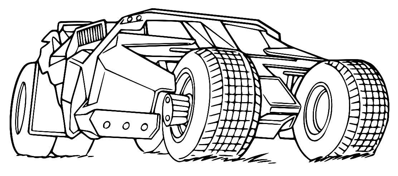 Desenho do Batmóvel para pintar