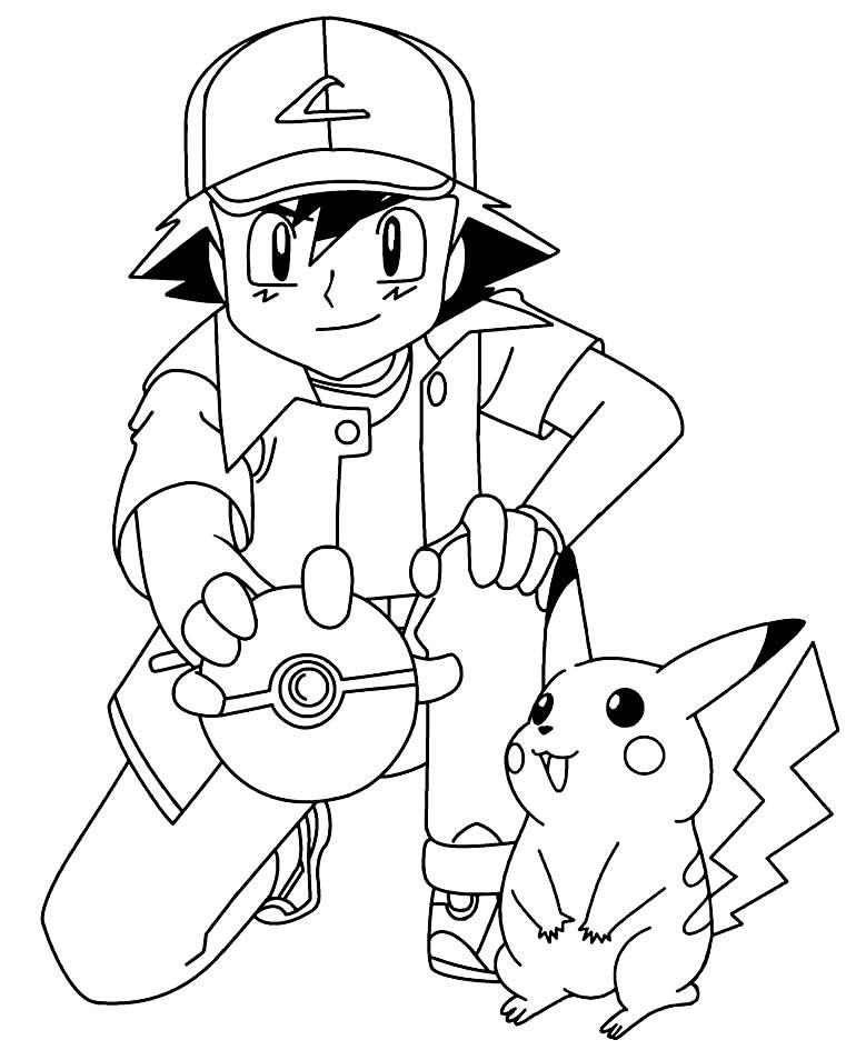 Desenho de Ash e Pikachu