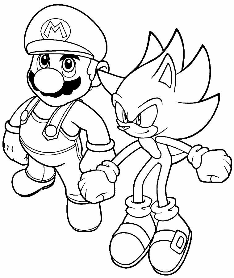 Imagem de Mario Bross e Sonic para colorir