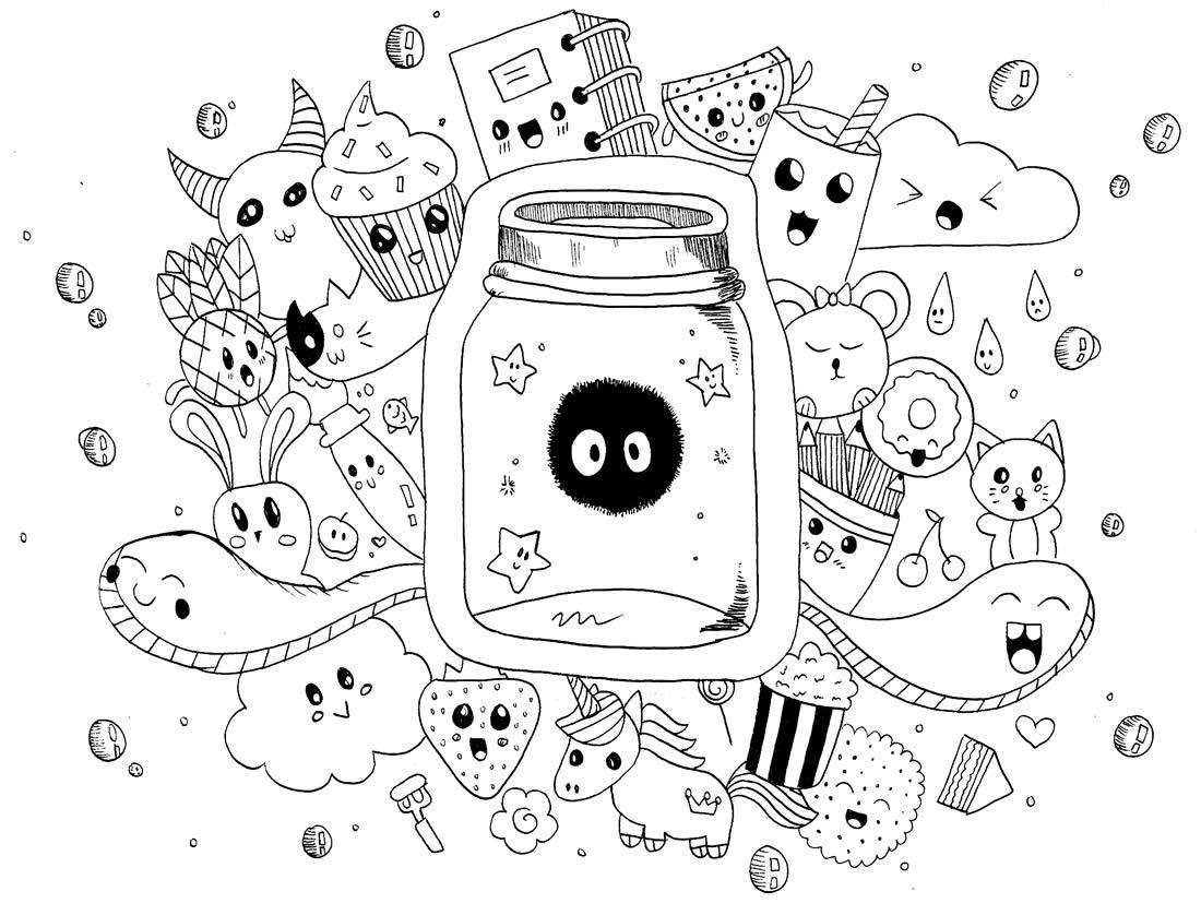 Desenho Kawaii para pintar