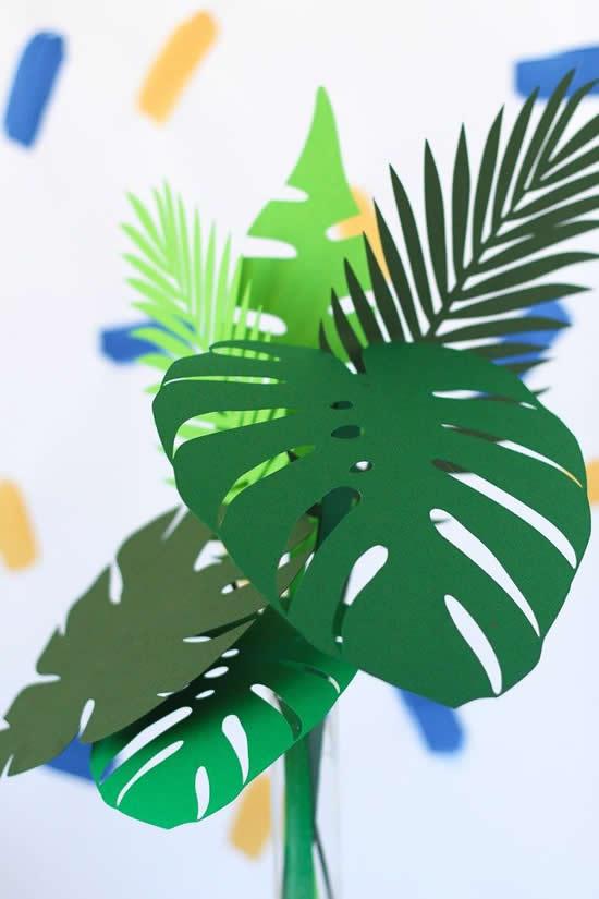 Decoração com folhas de papel