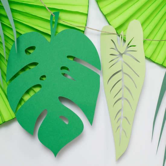 Enfeites com papel de folhas