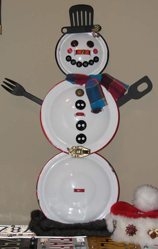 Boneco de neve com tampa de panela