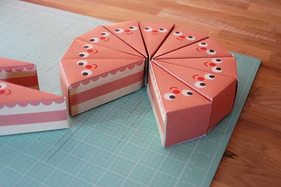 Caixinha fatia de bolo