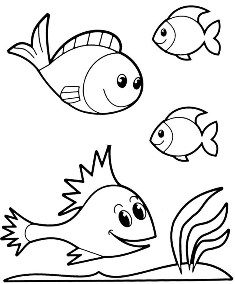 Desenho de peixes para pintar