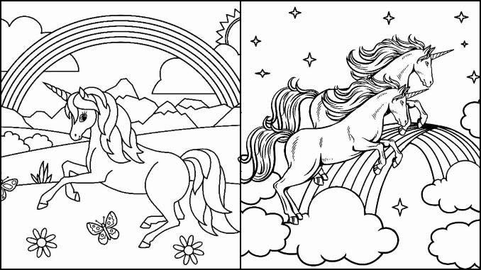Desenho Unicórnio Arco-íris