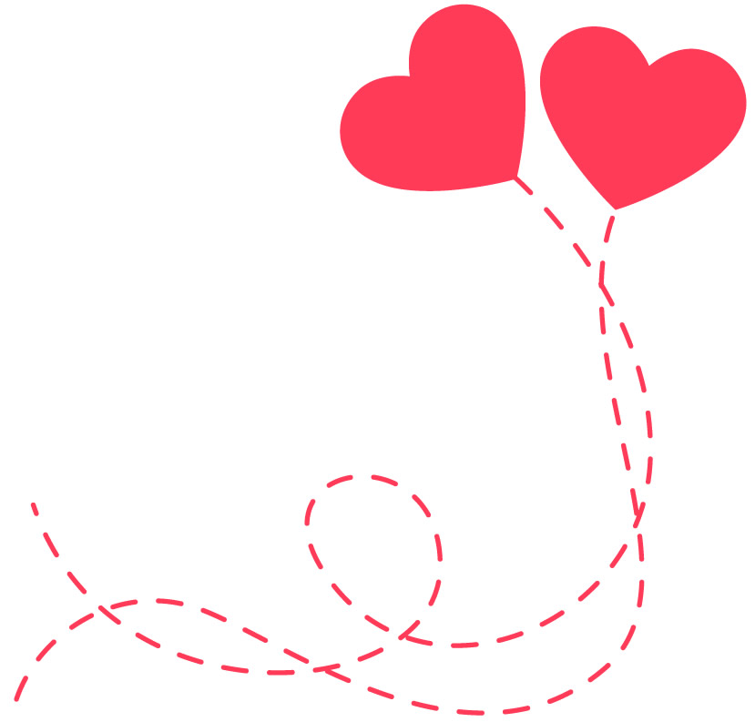 Molde colorido de coração