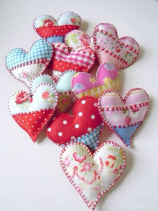 Coraçãozinhos de tecido