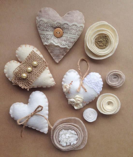 Artesanato de coração de tecido