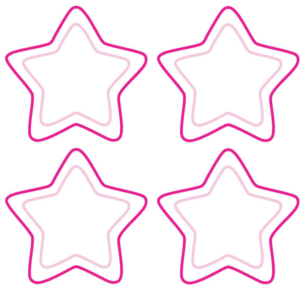 Moldes de estrelas rosas para imprimir