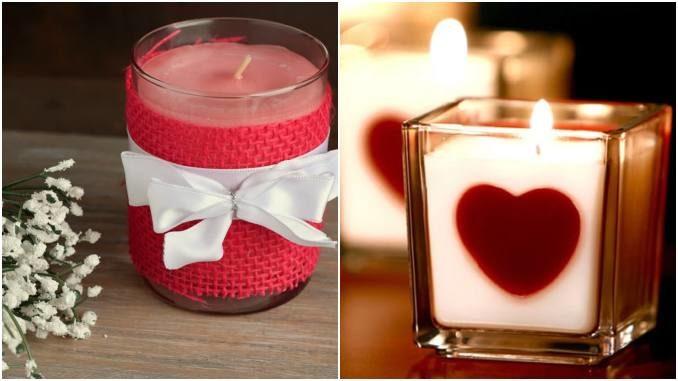 Velas decoradas para o Dia dos Namorados