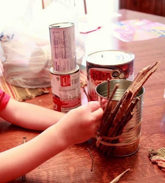 Artesanato com latas para fazer para as crianças