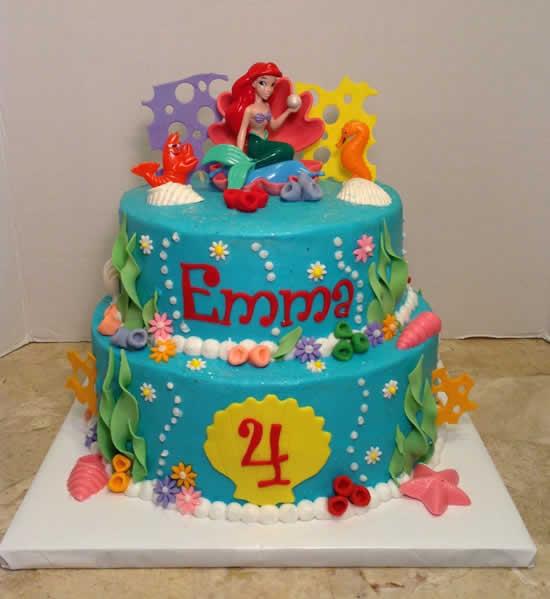 Bolo da Pequena Sereia para Festa de Aniversário