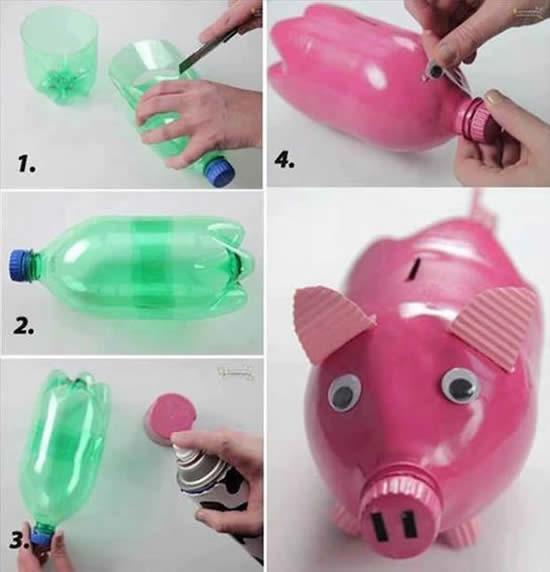 Cofrinho de garrafa PET