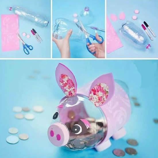 Porquinho de garrafa PET