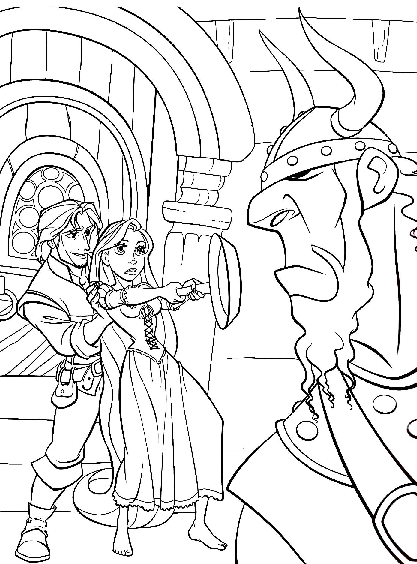 Desenho da Rapunzel para colorir